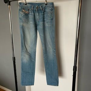 like nw Diesel light washed distressed denim jeans
